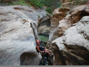 Rappelling into Subway Canyon - Bangalore Adventure School