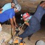Rope management before entering the cave