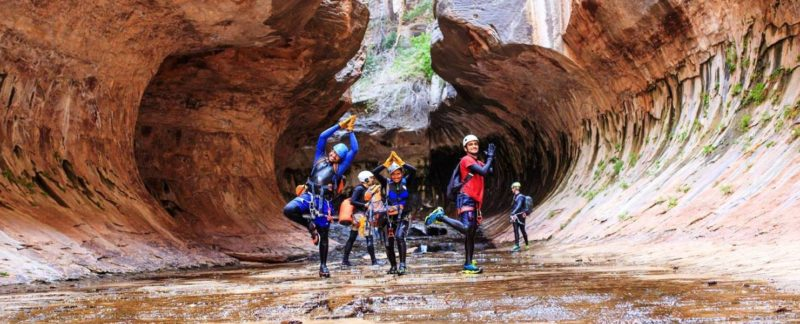 Our Team posing while Canyoning in Subway Canyon