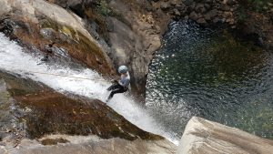 Lena on the second rappel at Seven and Half Cups ( Ezharakundu Falls)