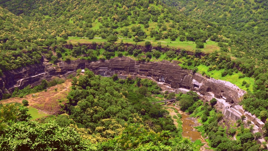 Ajanta Caves carved along the North wall of the canyon are good pointers to ancient Canyoning in India