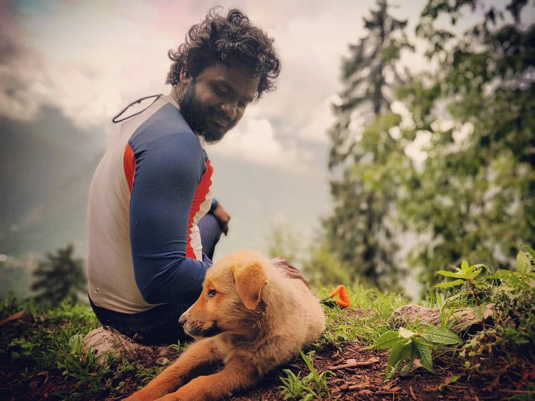 Pravin Kumar with a special hiker buddy