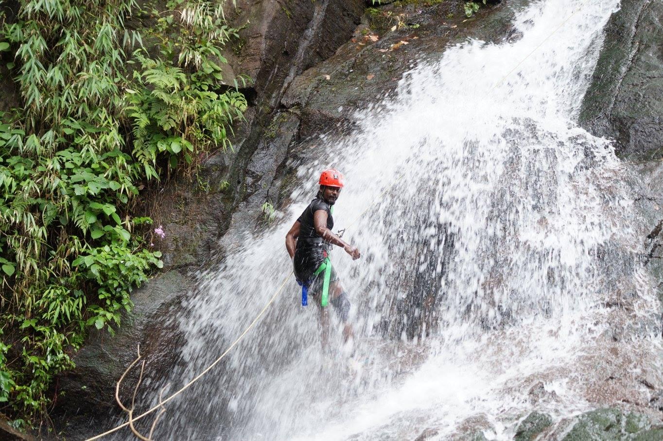 Pravin Kumar - rappelling in Dare Falls, Wayanad