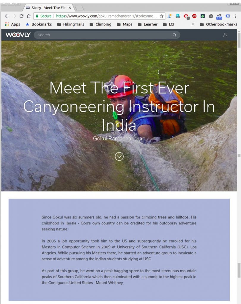Page 1 of 5 - Woovly Feature on Gokul Ramachandran - Canyoning Instructor at BASCOOL