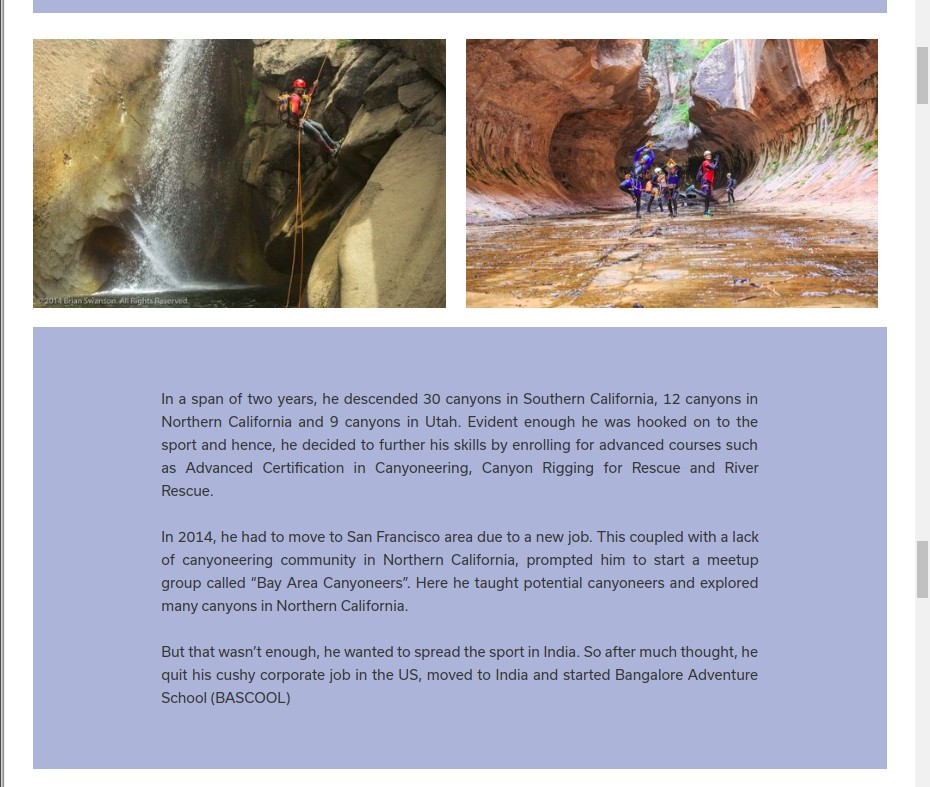 Page 3 of 5 - Woovly Feature on Gokul Ramachandran - Canyoning Instructor at BASCOOL