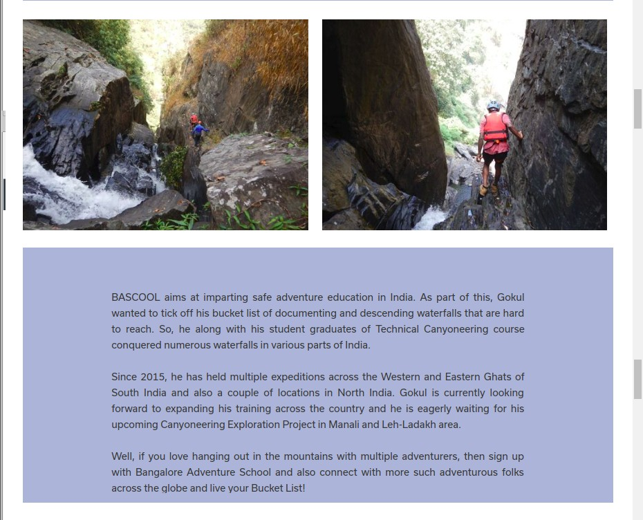 Page 4 of 5 - Woovly Feature on Gokul Ramachandran - Canyoning Instructor at BASCOOL