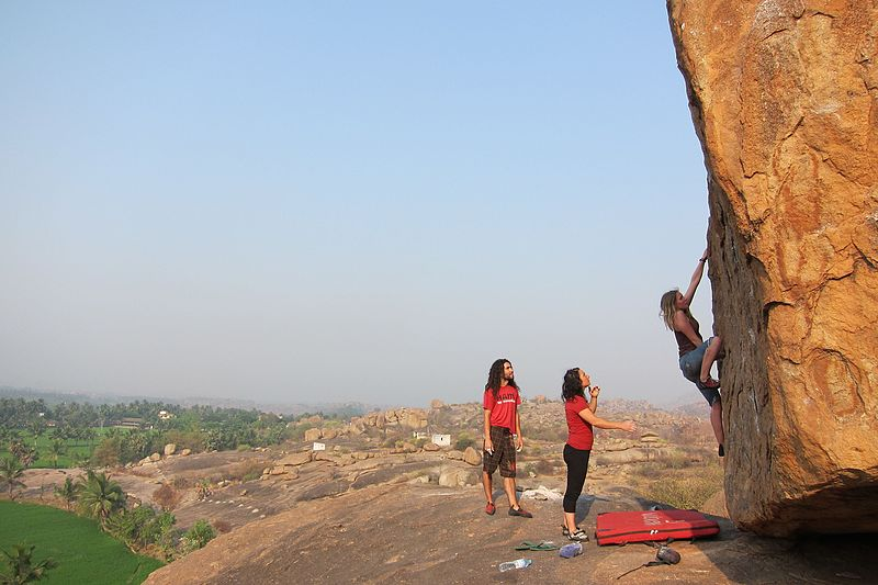 bouldering - rock climbing in Hampi, India